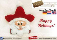Ster Kussen Kerstman XL - Haakpatroon van Eelz! - Eelzuhtjuh's Crochet & More op DaWanda.com
