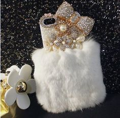 Bling Crystal Noble Furry Rabbit Fur Bow Pearl Hard Cover Case (iphone 5/5S gray). Condition: 100% Brand New. Quantity: 1 PC. Features: Color as the photo shown. Don't use hard force to pull it. Perfectly fits iPhone 5 iPhone 5S. Complete access to all control buttons without removing the case. 100% handmade product with fashionable design and high quality. This is hard case for white side only, without front side. Case edge is White plastic material so can plug-in the phone.