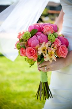 Dark pink, coral, light yellow, and light green floral bouquet - photo by Portland wedding photographer Barbie Hull