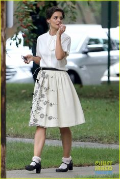 Katie Holmes Dances Along to Songs on 'Miss Meadows' Set