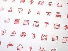 icons: uniform weight for each icon, clear distinction between overall shape and detail elements