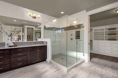 Contemporary Master Bathroom with Raised panel, Dura Supreme Cabinetry Craftsman Panel, Master bathroom, Flat panel cabinets