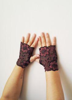 Short Black Rose Flowers Glove Fingerless Lace by SpecialFabrics