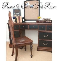 Salvaged Inspirations   Painted & Stained Desk Rescue   Re-Styled with #GeneralFinishes Lamp Black and Java Gel Stain