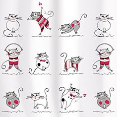 Cortina de ducha con gatos divertidos