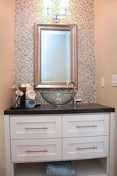 Bathrooms. Modern Small Creole Cottage Color Powder Room Design with Amazing Wall Mosaic Tiles Backsplash, Glass Vessel Sink, Polished Chrom...