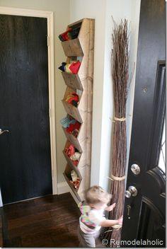 Diy Rustic Wall Storage Bins Shelves Bin Pantry