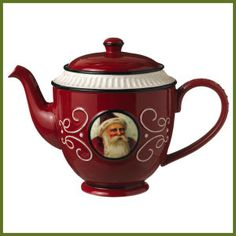 Grasslands Road Old World Santa Ceramic Teapot Red >>> More info could be found at the image url. (It is an affiliate link and I receive commission through sales) Christmas Tea Party, Christmas China, Black Christmas, Father Christmas, Christmas Tree, Chocolate Pots, Chocolate Coffee, Teapot Cookies, Christmas Dinnerware