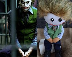 Personalized custom portrait rag doll by photo by OKhandmadeDolls Heath Ledger, Joker 2008, First Love, Dolls, Portrait, Illustration, Handmade Gifts, Fictional Characters, Art