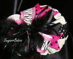 Hot Pink, Zebra, OTT, Double Layered Bow, Boutique Hairbow, Boutique Headband, Ribbon Hair Bow, Photo Prop. $12.00, via Etsy.