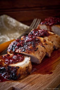 Pork Tenderloin with Cranberry-Raspberry Sauce. YUM!