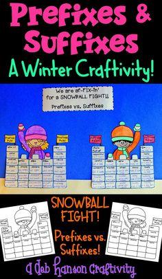 Prefix and Suffix Craftivity for Winter Reading Group Activities, Classroom Activities, Classroom Ideas, 5th Grade Reading, 4th Grade Math, Second Grade, School Fun, School Stuff, Middle School