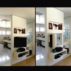 Projeto de marcenaria. Painel giratório em lacca branca que permite assistir tv…