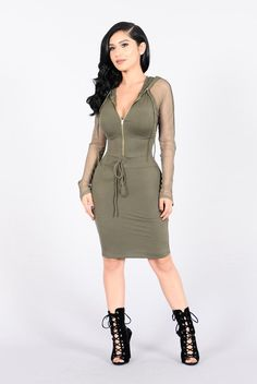 - Available in Olive - Fitted Dress - Knee Length - Mesh Sleeves - Attached Hood w/ Drawstring - Elastic Waist Tie - Zipper Front - Made in USA - 95% Polyester 5% Spandex