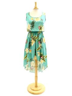 e766630aa1342 Two Palms Ceres Green Rayon Hawaiian Hi-Low Midi Dress | AlohaOutlet