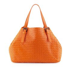 Bottega Veneta Orange Leather Basket Weave Shoulder Bag Loving This Bright Color To Wear