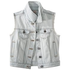 Mossimo Supply Co. Juniors Sleeveless Denim Vest - Assorted Colors (73 BRL) ❤ liked on Polyvore featuring jackets, outerwear, vests, tops and light stonewash