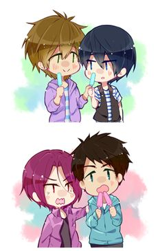 """Free! ES ~~ There are two kinds of people in the world... :: [ """"Popsicle Sharing"""" drawn by Lesfrites ] ::: Makoto and Haruka. Rin and Sosuke."""