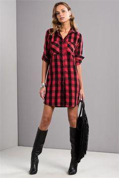 Ekose Gömlek Elbise                                   (1009851_Kırmızı)
