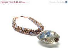 On Sale Brown and Blue Beaded Necklace by GirlBurkeStudios on Etsy, $36.00