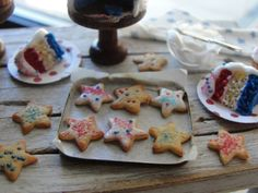 Dollhouse miniature red white and blue baking by Kimsminibakery
