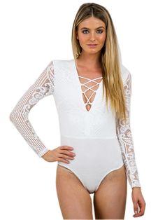 c85b3bea0e80 Lace Bodysuit Women Fashion Lace Patchwork Hollow Out Deep V Neck Lace Up  Bodycon Jumpsuit Slim Ladies Long Sleeve Bodysuit