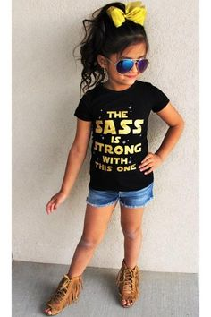 """SHORT SLEEVE """"The Sass is Strong with This One"""" Black T-Shirt"""