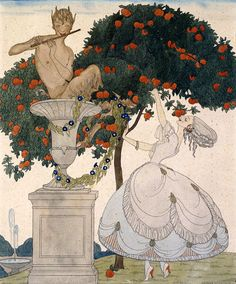 GERDA-WEGENER-Temptation-FAWN-flute-woman-stretching-fruit-oranges-NEW-PRINT