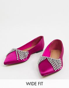 ASOS DESIGN Wide Fit Valour embellished ballet flats in magenta satin | ASOS Chunky Loafers, Black Loafers, Lace Up Shoes, Slip On Shoes, Flat Shoes, Ballerinas, Magenta, Pointed Ballet Flats, Asos