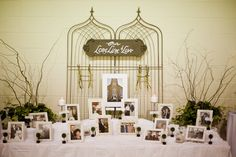 """""""Long Line of Love"""" displaying photos of parents, grands and great-grands most recent anniversary photos with topiary cards identifying them - showing its not about """"getting married"""" its about """"staying married"""""""