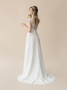 add3d27d9347 Moonlight Tango T812 alluring deep V-back A-line wedding dress with buttons  along