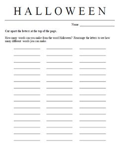 Halloween Making Words FREEBIE {use the letters in the word Halloween to make as many words as you can!)
