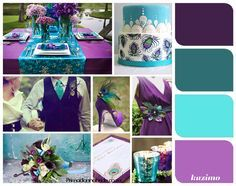 purple and turquoise beach wedding love this color scheme but not peacock theme more like mermaid, sea, and sailor theme Royal Purple Wedding, Aqua Wedding, Peacock Wedding, Trendy Wedding, Dream Wedding, Mod Wedding, Wedding Album, Mermaid Wedding, Perfect Wedding