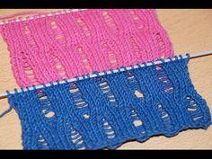 Вязание спицами. Узор со спущенными петлями /// Knitting for beginners.