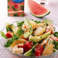 Watermelon, prawn, avocado and pink grapefruit salad