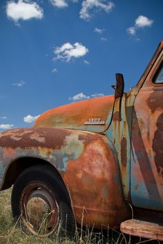 Items similar to Old Truck Photography, Print, Blue, Rust, Rustic, Orange, Sky, Classic, Vehicle, For Him, Man, Dude, Photograph  - Long Interval on Etsy