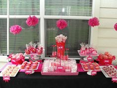 The Amazing Candy Buffets and Fun Food Designers of Sugar Bunch Creations: Sugar Bunch Pink & Red Baby Shower dessert buffet
