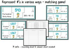 3rd grade math test prep task cards & matching games - 3.NBT -   28 task cards and 2 matching games. answer key and recording sheets provided :)