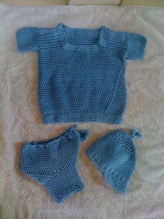 Set de ropa para bebe en crochet