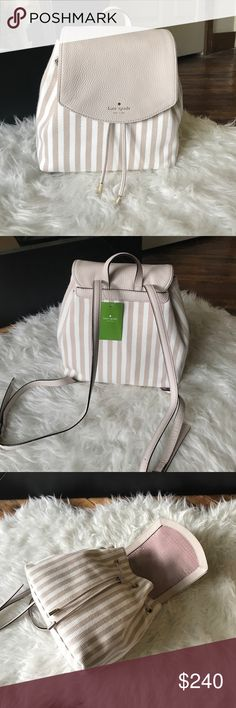 Kate Spade backpack purse NWT. So cute for summer! Straps can be adjusted to make the length perfect. Last picture is the matching wallet that is posted separately; bundle both to save! 👑💸👍🏼Small breezy, mulberry street fabric. kate spade Bags Backpacks