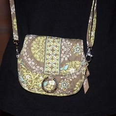 Vera Bradley Small Cross Body Shoulder Bag, Yellow, Brown, Green   Excellent Condition! Smoke Free Enviornment!  Fast Shipping!