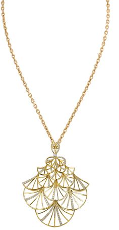 GABRIELLE'S AMAZING FANTASY CLOSET | Jacob & Co.'s Abanico Collection Fan Pendant in Yellow Gold with Diamond Pave |