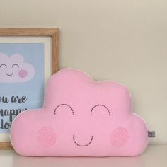 Happy Cloud Cushion, Pink cloud, Pillow Plush, Nursery Decoration, Embroidered pillow, Children pillow, Kids bedroom by AliciaCambridge on Etsy https://www.etsy.com/listing/237983085/happy-cloud-cushion-pink-cloud-pillow