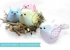 DIY Recycled Paper Spring Nest with Printable Paper Brids from claudine hellmuth's blog: retro * whimsical art and illustration