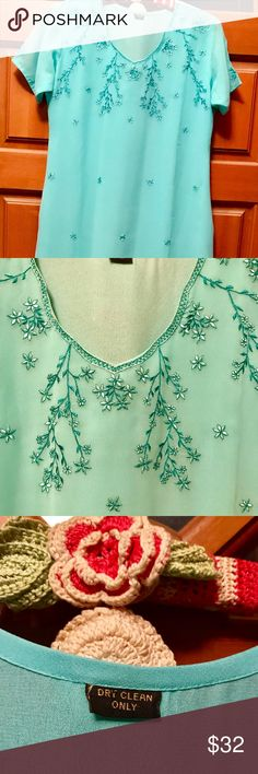 "Dress, Turquoise and Bead Embroidery Embellished Turquoise color dress with short sleeves and a sweetheart neckline with lovely embroidery and beading. Side slits for easy of movement. Best worn with tights or leggings. Pit to pit is 17.5"", and is 42"" from shoulder to hem. Adornments4u SpecialFinds Dresses Midi"