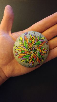 Hand painted stone Mandala. Meditation stone, gift, paperweight, garden decor
