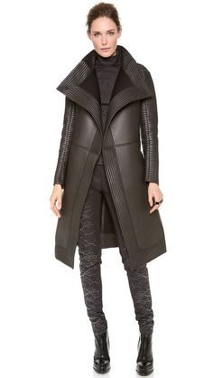 Gareth Pugh Neoprene Long Coat with Quilted Trim- I died and went to MUST HAVE HEAVEN!