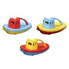 The AMAZING Tug Boat by Green Toys - It will be a favourite for bathtime!  Your kids will love this amazing tug boat for bathtime! Also a wonderful children's toy for use in the pool or water play table! This colourful craft float well and has a wide spout to scoop and pour water.   Made in the USA from recycled and recyclable materials, this trusty tugboat is both good for the earth and safe for the busy little kids who love to play with it. #alltotstreasures #greenstoys #tugboat