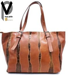Vera Pelle Shopper 43cm Leder Handtasche Schultertasche Trageriemen Apropos