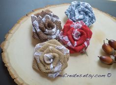 Burlap and Lace Roses Burlap and Lace Rosettes by EmaCreates